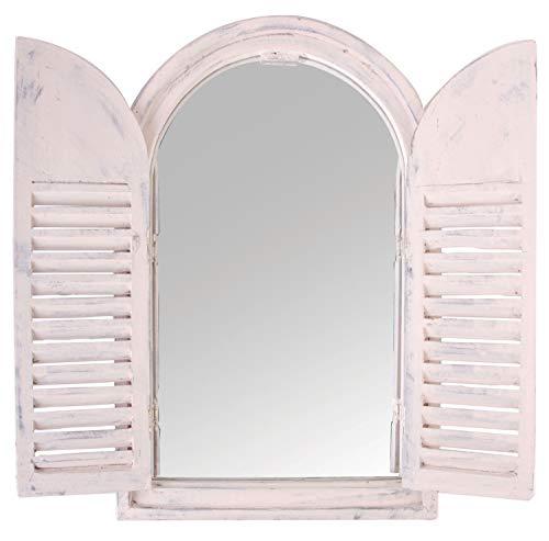 Esschert Design Specchio con Finestra per Negozi, Stile Country, Specchio da Parete, Colore Bianco, con 2 Porte, ca. 59 cm x 38 cm x 4,5 cm