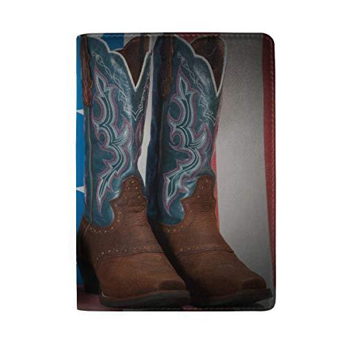 Fantasia e stile country Stivali da cowboy Stampa di blocco passaporto Custodia da viaggio Custodia da viaggio Portafoglio da passaporto Titolare della carta Made With Leather For Men Donna Bambini F