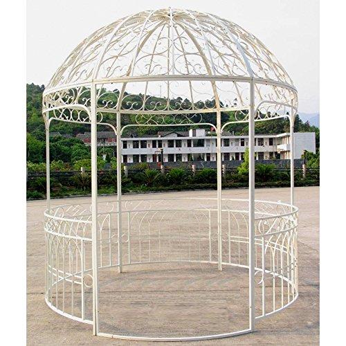 Grande Gazebo Chiosco di giardino Pergola Ripari rotondo Gloriette in ferro battuto bianco 250x 250x 290cm