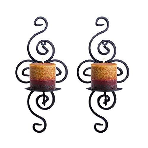 Meshela, confezione di 2 candelieri da parete in ferro stile vintage, decorazione appendibile