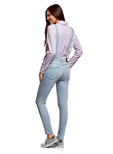 oodji Ultra Donna Salopette in Jeans con Tasca sul Petto