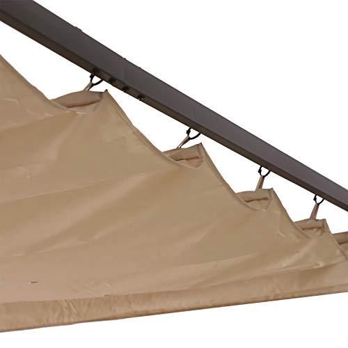 Outsunny Gazebo Pergola Gazebo pergola da Giardino con Coulisse Gazebo Pergola da Giardino per Esterno in Poliestere Struttura in Acciaio, Bianco, 350x350x230cm