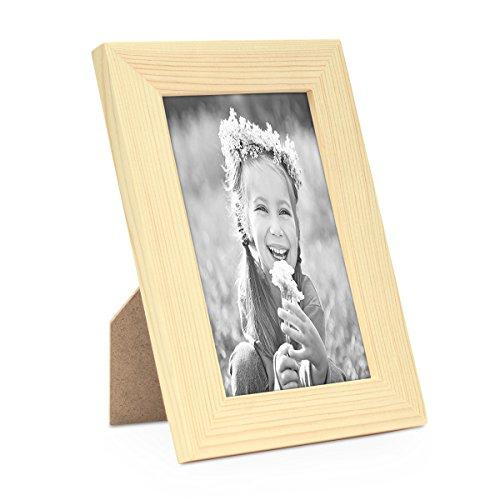 Photolini Set da 5 cornici da 10x15 cm, moderne, pino, in legno massicio, Basic Collection, accessori inclusi/Collage foto/Galleria fotografica