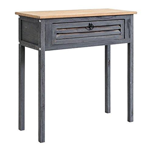 Rebecca Mobili Consolle Ingresso, Tavolo scrivania Vintage con 1 cassetto, Legno Blu Grigio, per Arredamento entrata Camera casa - Misure: 75 x 75 x 30,5 cm (HxLxP) - Art. RE4557