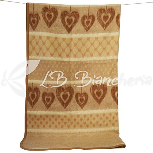 R.P. Coperta in Lana Cuori Country Love - Made in Italy - 2 piazze. Letto Matrimoniale - Beige