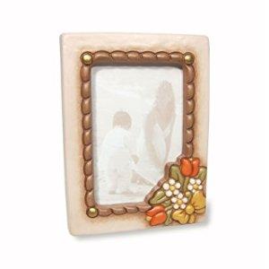 THUN Cornice Portafoto da Tavolo Medio-con Decorazione Floreale-Formato 10 x 15 cm-Color Avorio-Ceramica-Linea Country