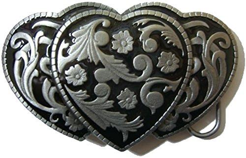 3 HEARTS (NERO) Fibbia per Cintura + espositore