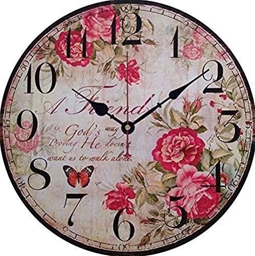 Fwifky Orologi da Parete Orologio da Parete in Stile Europeo da Giardino in Stile Country Orologio da Parete Decorativo in Legno Semplice Orologio da Parete Serie Rose (Pattern : 2)