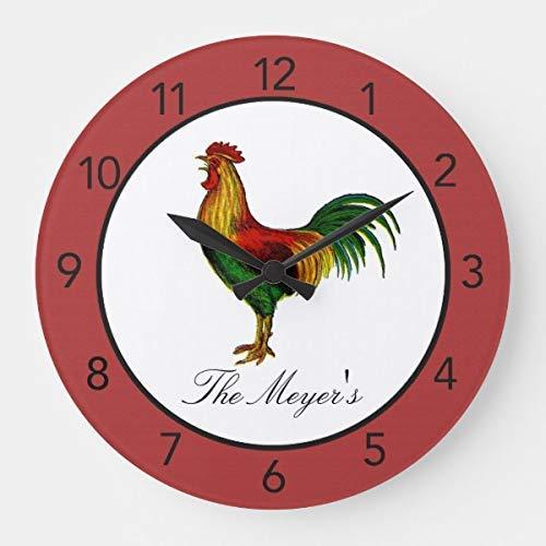 HSSS Rosso Country Rooster Kitchen, Decorativo 30,5cm–Orologio da Parete in Legno