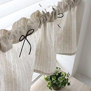 Tenda in lino naturale da cucina Valances fatta a mano stile rurale europeo per le finestre della vostra casa pezzo singolo larghezza 30 cm x lunghezza 135 cm