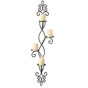 French Country  Portacandele da parete per 4 candele ferro arricciato finitura rustica nera artigianale puntine centrali orientamento verticale Fleur de Lis Arabesque altezza 91 cm