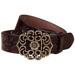 NormCorer Cintura di fibbia in pelle di cuoio genuino per i jeans 115 cm di lunghezza caff