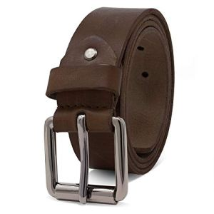 ROYALZ Vintage Cintura Uomo in robusta pelle di bufalo 4 mm Cintura per Jeans con fibbia ad ardiglione antico  Larghezza della cinghia38 mm ColoreMarrone Scuro dimensione150