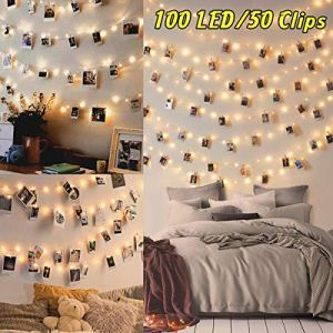 100LED Luci Led per Foto Polaroid  10M Lucine Led Decorative per Camere Porta Foto Luci con Mollette Led per Foto Luci Decorative Interno