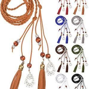 8 Pezzi Esotica Catena in Vita Cintura per Dona Catena di Corda con Nappe e Perline 8 Colori