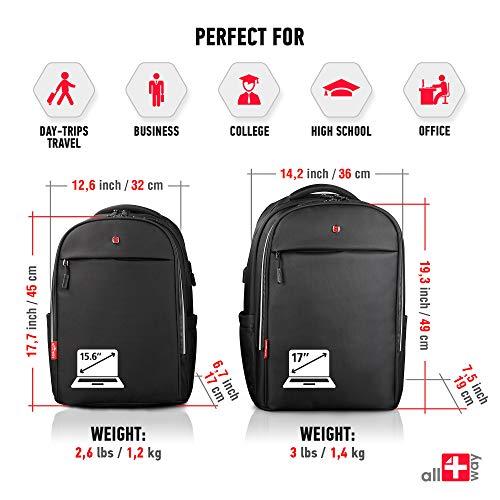 all4way Zaino per Portatile  Anti furto Zaino Impermeabile Rain Cover  Swiss Design RFID Blocking  Porta USB di Ricarica  Business College da Viaggio Scuola Zaino 156 Grigio New