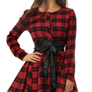Allegra K Donne Plaids Maniche Lunghe Cintura Trapezio Vestito Camicia Rosso M
