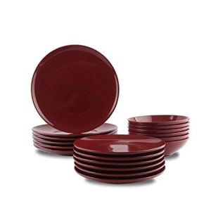 AmazonBasics servizio di piatti in grs da 18 pezzi colore Rosso carminio per 6 persone