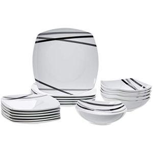 AmazonBasics  Servizio di piatti per 6 persone 18 pezzi Raggi moderni