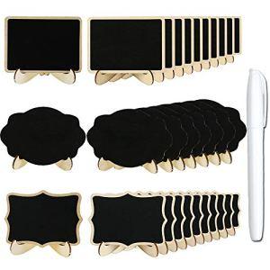 Anyasen Lavagnette Segnaposto 30 pezzi Lavagnette Legno Mini Lavagne in Legno Piccola lavagna Segnatavolo Segnaposto Lavagna con il Basamento per Numero di Tavolo Matrimoni Feste