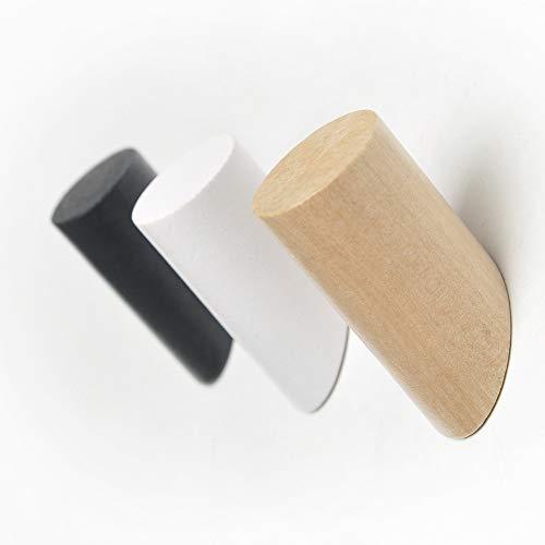 ANZOME Appendiabiti A Parete Ganci Appendiabiti Legno 6 Pezzi Appendiabiti da Muro per Cappotti Appesi Cappello Sciarpe Giacche Cuffia in Camera da Letto Soggiorno CorridoioBianco