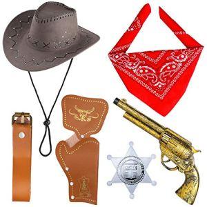 Beelittle Accessori Costume da Cowboy Cappello da Cowboy Bandana Pistole Giocattolo con fondine da Cintura Set da Cowboy per Halloween Party Dress Up B