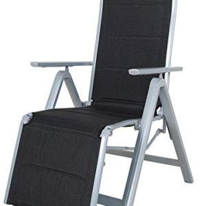 Chicreat sedia sdraio pieghevole deluxe alluminio colore neroargento