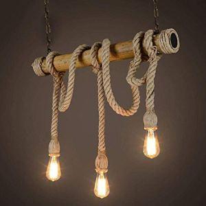 Ciondolo lampadario novit corda lampadario 3 teste mood vintage corda di canapa e lampade pendenti in bamb