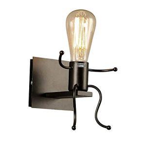 Creativo Vintage Lampada da Parete Industriale Retro Applique da Parete Lampada a Muro Supporto In Ferro Art Deco E27 Base per Bar Camera da Letto Cucina Ristorante Caff Corridoio Nero