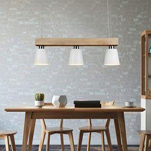 Lampada a sospensione a LED tavolo da pranzo in legno 3 fiamme lampada da tavolo da pranzo regolabile in altezza bianco caldo per sala da pranzo soggiorno ufficio ristorante bianco illuminante incl