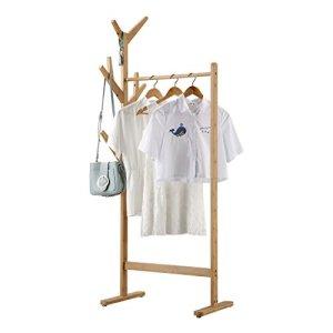 LANGRIA Stand Appendiabiti Bamboo Tipo di Albero a 8 Ganci con Piedini Regolabili per Giacche Cappotti Lunghi Cappotti Ombrello Cappelli 1 Bar Colore Bamb Naturale