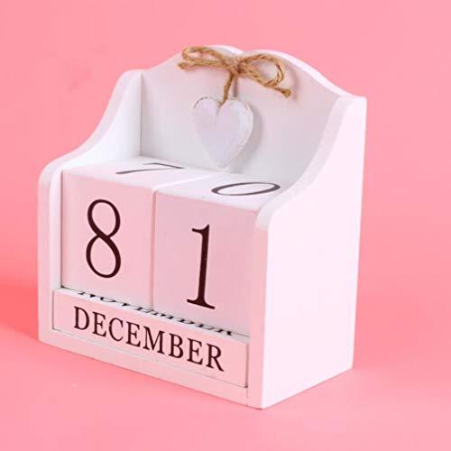 LIOOBO Calendario in Legno Blocchi da scrivania Calendario perpetuo Calendario mensile Decorazione per casa e Ufficio Rosso PP Bianco 145  8cm