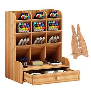 Marbrasse Organizer da scrivania in legno multifunzione portapenne fai da te cancelleria da scrivania forniture per casa e ufficio con cassetto B11colore ciliegia