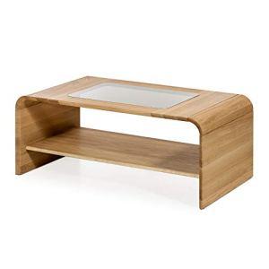 Marchio Amazon Alkove  Hayes  Tavolino da salotto con ruote e ripiano in vetro in legno massello quercia selvatica