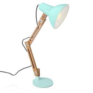 Navaris Lampada da Lettura Scrivania Ufficio  Illuminazione Lampadina E27 Braccio Flessibile Legno Metallo  Luce Tavolo LED Protezione Occhi  Verde