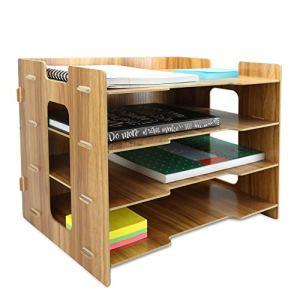 Organizer da scrivania in legno  A4 Document Desk Organizer  Vassoi per archiviazione in legno  Deposito di cancelleria per ufficio  Letter Rack  4 divisori  Pukkr