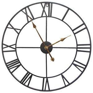 SEJU Orologio da parete silenzioso per soggiorno cucina camera da letto ufficio salotto metallo Nero60 cm 24242 inches