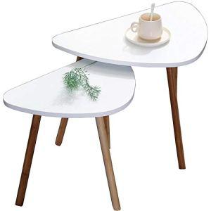 Set Di Due Tavolini Da Caffe Bianchi in Legno Scandivavi 60x40xH45 E 46x30xH41 Minimalisti Appoggio Piante Vasi Comodino Legno MDF Tavolini Salotto