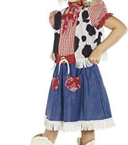 Smiffys Costume Cowgirl Sweetie Azzurro con abito gilet sciarpa cintura e cappello