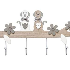 SPOTTED DOG GIFT COMPANY Appendiabiti da Muro 4 Ganci in Legno attaccapanni da Parete Ganci Appendiabiti Decorativi con Motivo a Cane