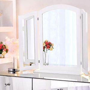 Wellmet Specchio Trifold con Base in Legno Staccabile Specchio a 3 Vie per Tavolo da toeletta Grande Specchio per Bagno Camera da Letto Tavolo o da Parete 84 cm x 62 cm