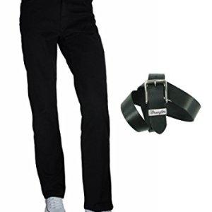 Wrangler jeans stretch Texas da uomo vestibilit regolare includecintura in pelle Wrangler Nero  31W x 34L cintura 85 cm