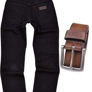 Wrangler Texas  Jeans elasticizzati da uomo vestibilit regolare con cintura Black Overdye  cintura marrone 33W x 36L