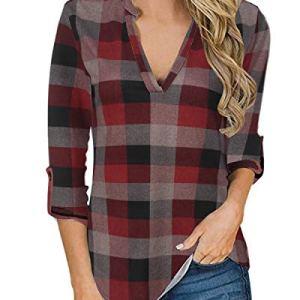 YOINS Camicia Donna Elegante Camicetta Donna Manica Lunga Bluse Camicie a Quadri Blusa Scollo V Casuale Rosso Plaid S