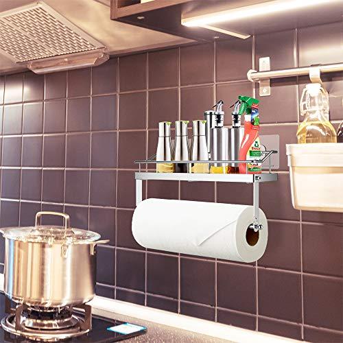 Oriware Porta Carta da Cucina Adesivo Sottopensile per Cucina e Bagno in Acciaio Spazziolato SUS 304 Senza Forature Nero