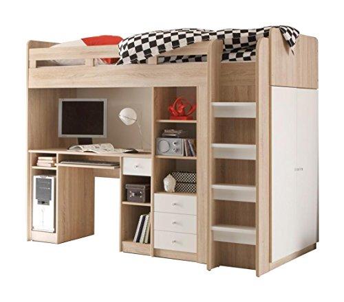 AVANTI TRENDSTORE  Letto con scrivania incorporata in qercia Sonoma  bianco dimitazione ca 204x160x112 cm