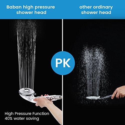 Baban Soffione Doccia ad alta pressione40 di risparmio idrico 3 mode doccia Ammorbidisce lacqua duraVieni con un pacchetto di sfere extra minerali per la sostituzione