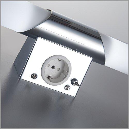 BKLicht Mithra Luce LED da specchio lampada da muro per bagno con 2 luci bianche e corpo metallo opaco cromato