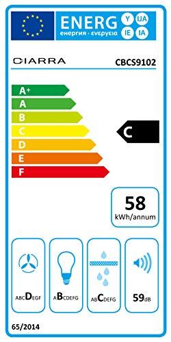 Ciarra Cappa aspirante 90cm  550 m3h Aria di scaricoricircolo  3 gradini  Max Acciaio inox  LED  Display argento Classe di efficienza energetica C