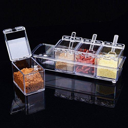 Cyir 4piece Clear Seasoning rack Spice pots contenitore condimento ampolla barattoli con coperchio e cucchiaio utensili da cucina forniture
